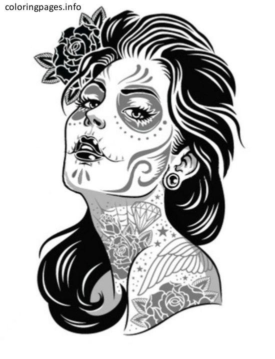 550x717 Sugar Skull Girl Coloring Pages Sugar Skull Coloring Pages