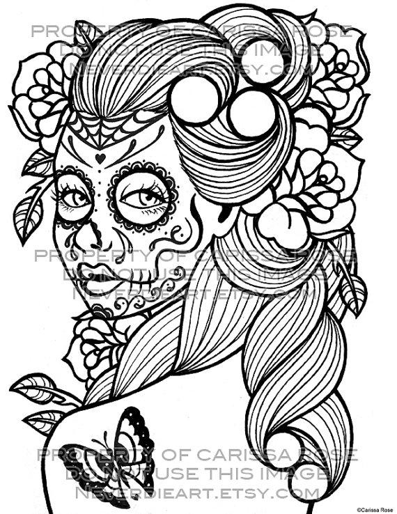 570x738 Sugar Skull Outline Coloring Book Outline Page Sugar Skull Girl