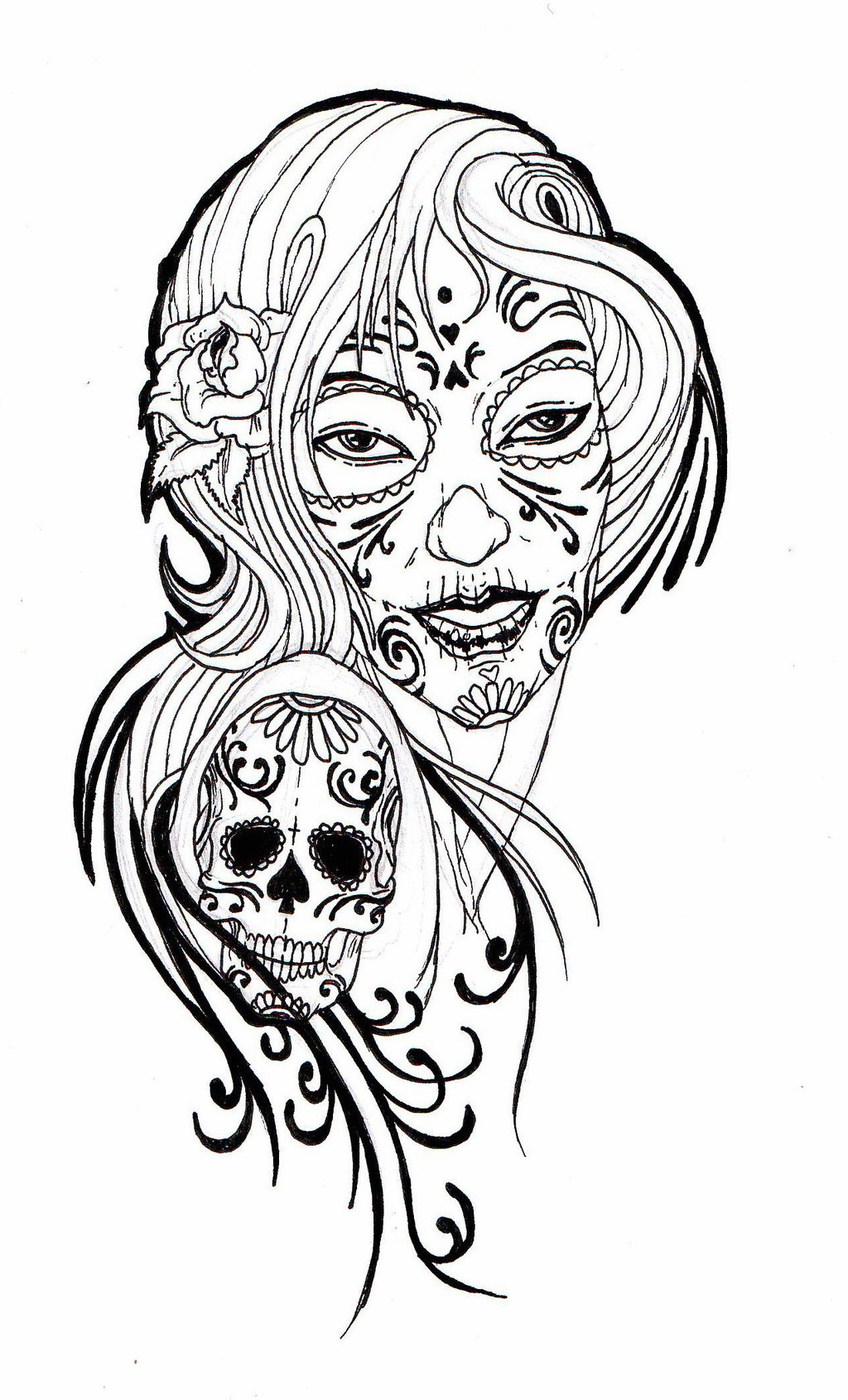 1024x1691 Sugar Skull Clipart Drawn
