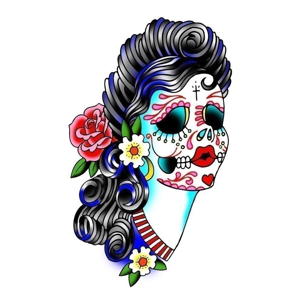 1000x1000 Sugar Skull Clipart Female