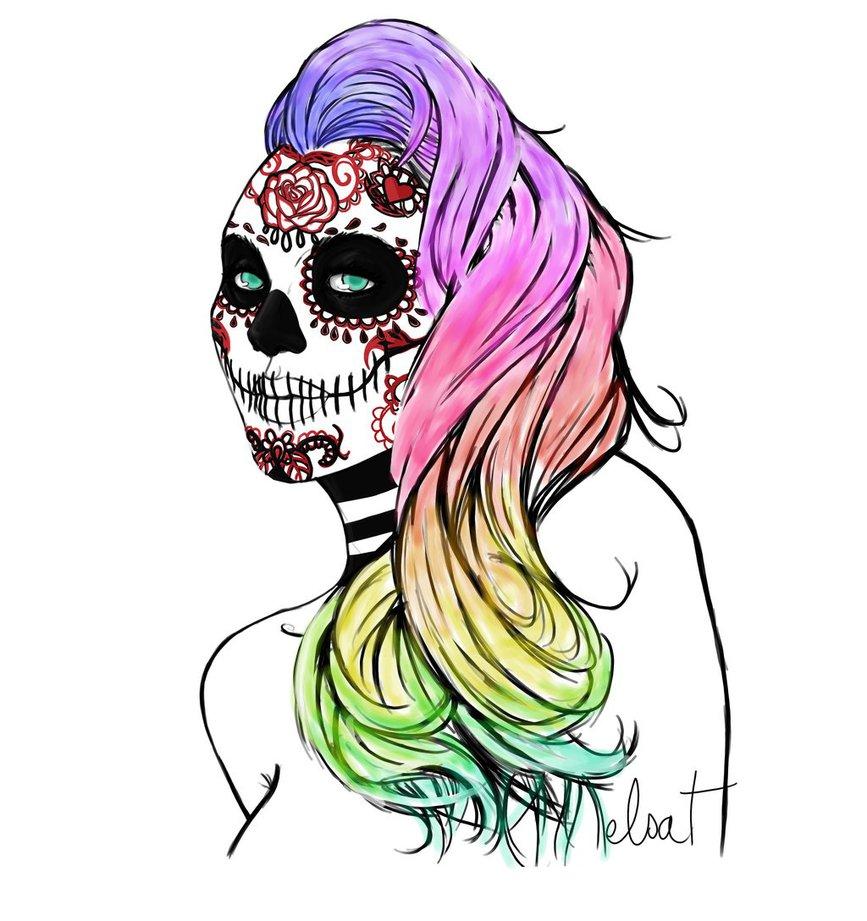 867x921 Sugar Skull Girl 2 By Kikata Chan
