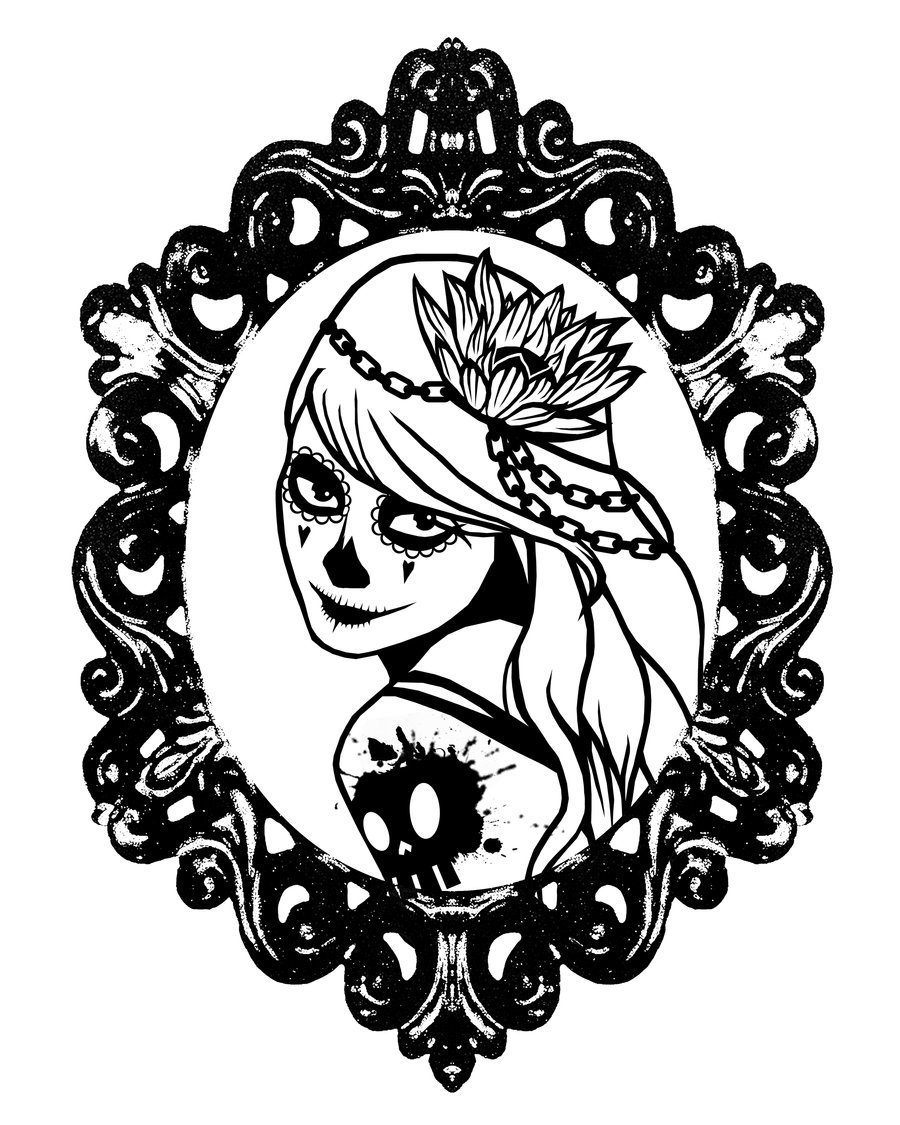 900x1125 Girl Sugar Skull Coloring Pages