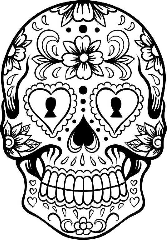535x768 Skull Coloring Pages For Girl