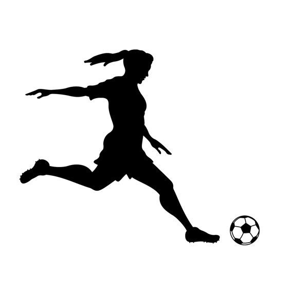 570x570 Girl Soccer Player Kicking Silhouette Sports Wall By Danadecals