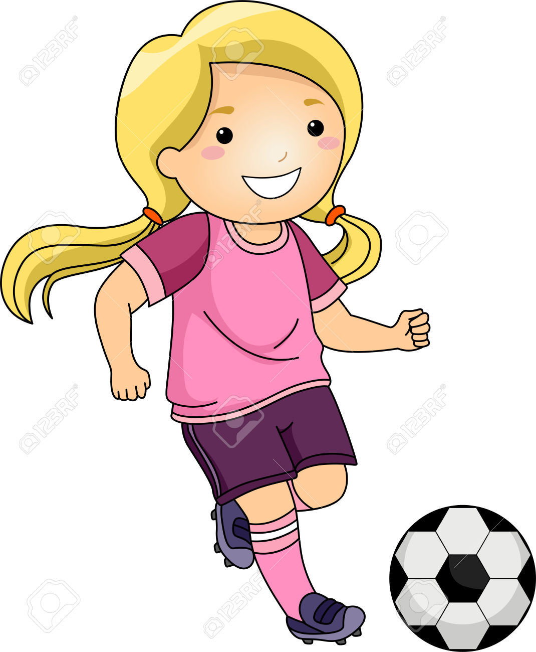 1070x1300 Little Girl Playing Soccer Clipart