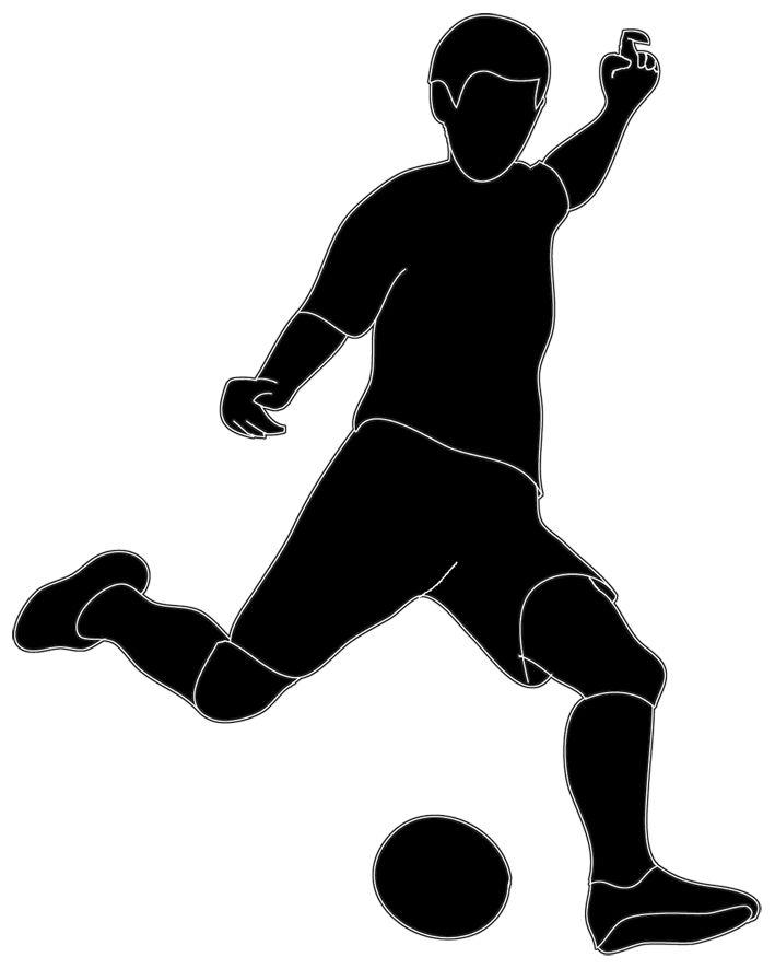 709x886 Black Amp White Clipart Soccer Player
