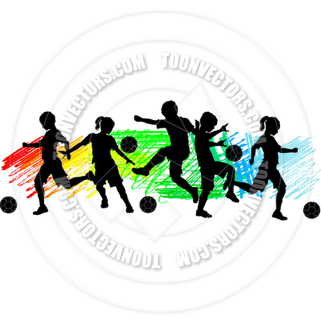 460x460 Kids Boys And Girls Soccer Silhouettes By Chromaco Toon Vectors