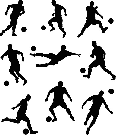 385x448 Set Of Soccer Players Silhouettes Vector Art Illustration Bar