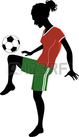 259x450 Silhouette Of A Teenage Girl Playing Football Or Soccer Royalty