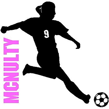 350x350 Soccer Girl With Custom Name Number Soccer Wall Decal Removable
