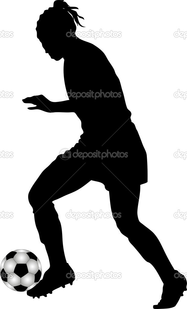 620x1024 Soccer Player Black And White Clipart