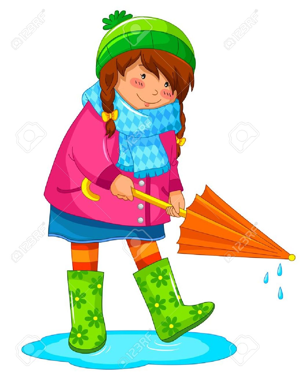 1039x1300 Girl With Umbrella Standing In A Puddle Royalty Free Cliparts