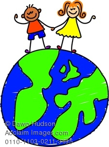 224x300 Little Boy And Girl Standing On A World Globe Clipart Image