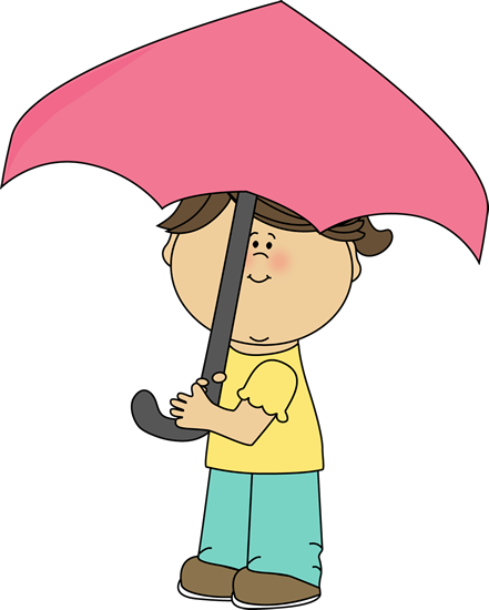 441x550 Little Girl With An Umbrella Clip Art