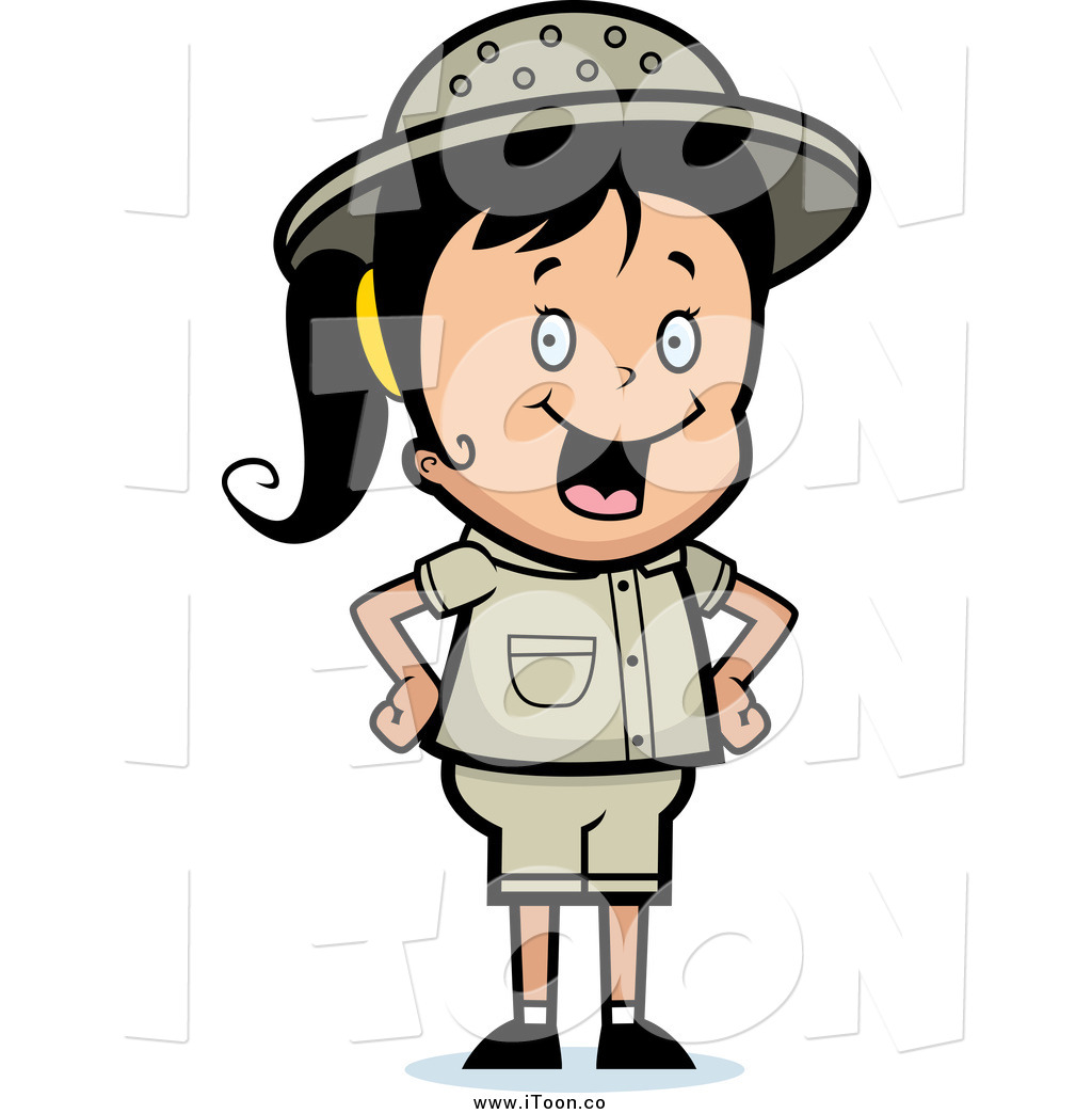 1024x1044 Royalty Free Cartoon Of A Safari Girl Standing With Her Hands