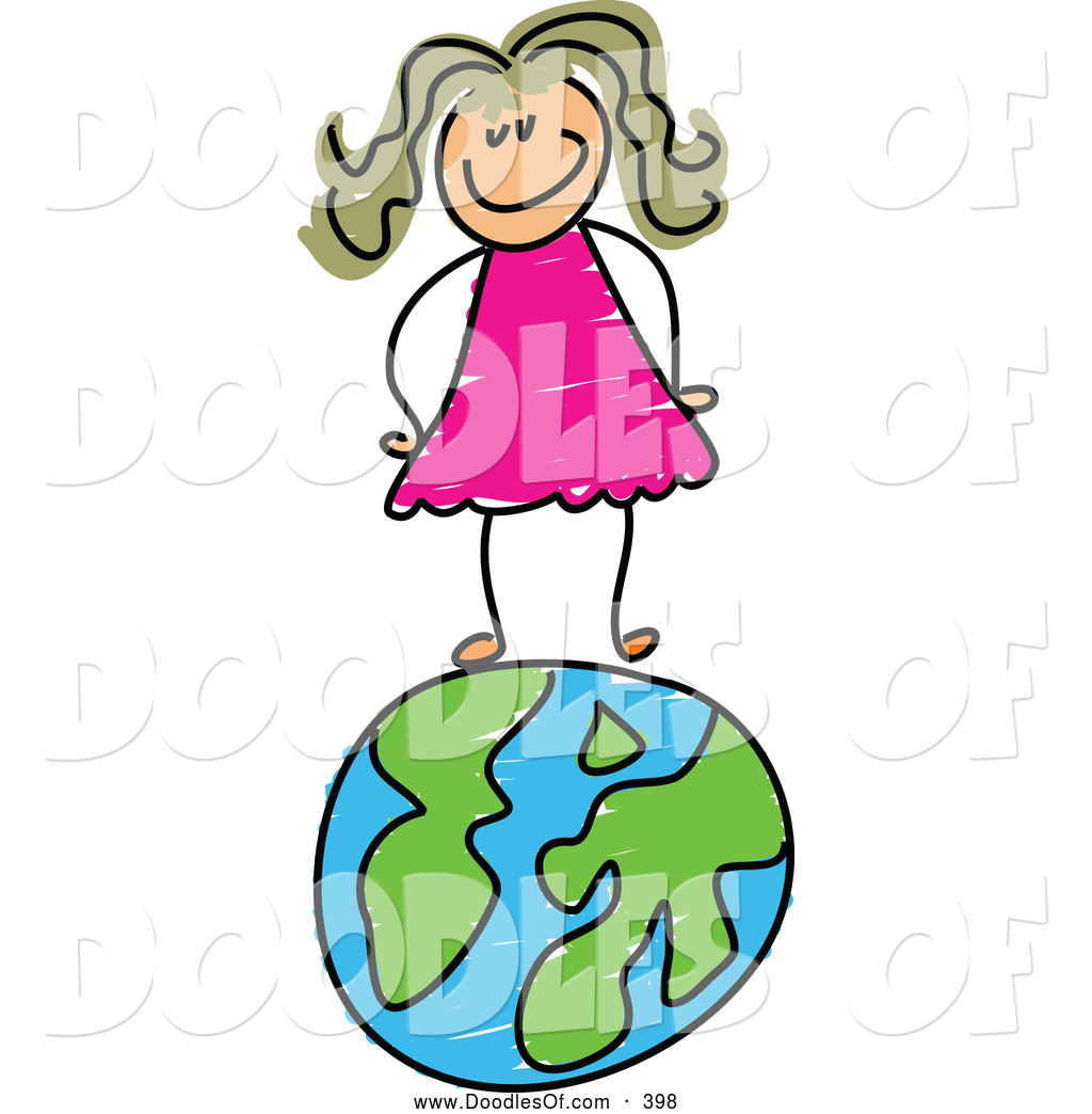 1024x1044 Vector Clipart Of A Happy Girl Standing On A Globe Of Earth By