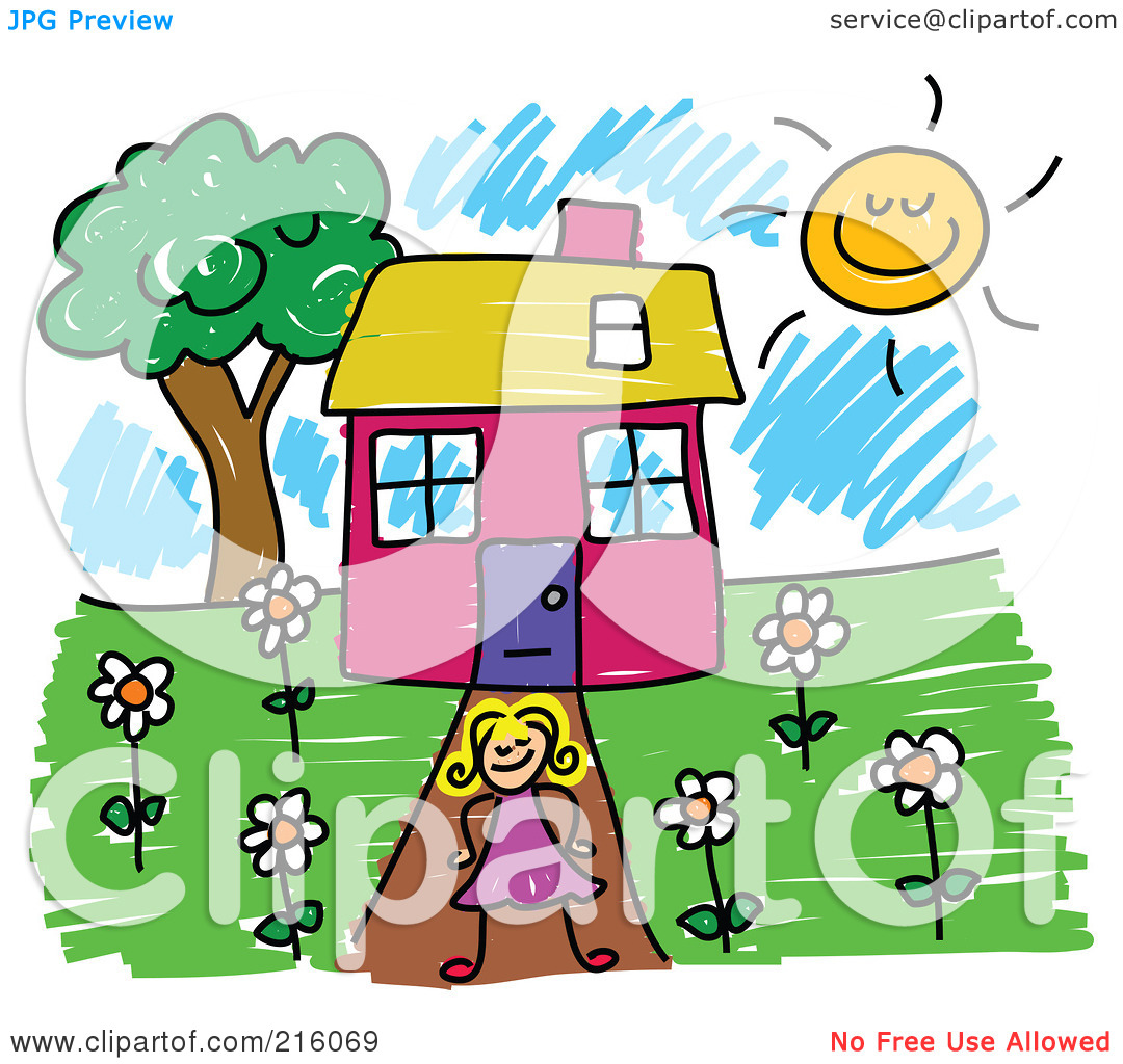 1080x1024 Girl Standing In Front Of House Clipart