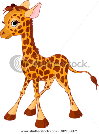 347x470 Of An Adorable Cartoon Giraffe Standing Up In A Vector Clip Art