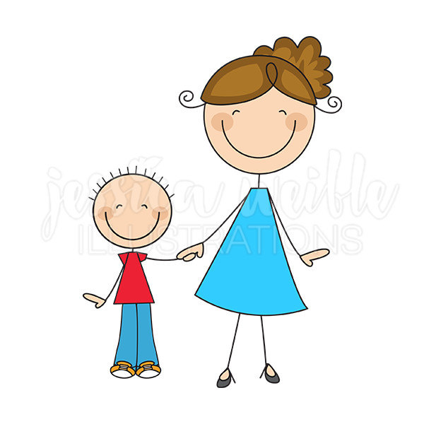 600x600 Mom And Son Stick Figures Cute Digital Clipart Commercial