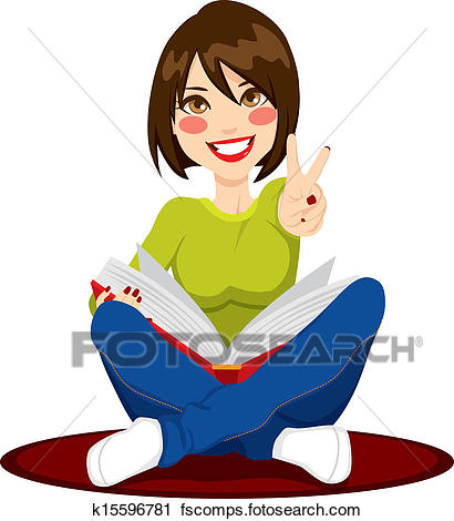 410x470 Clipart Of Girl Studying Exams K15596781
