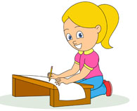 195x158 Free Clipart Of Girl Studying
