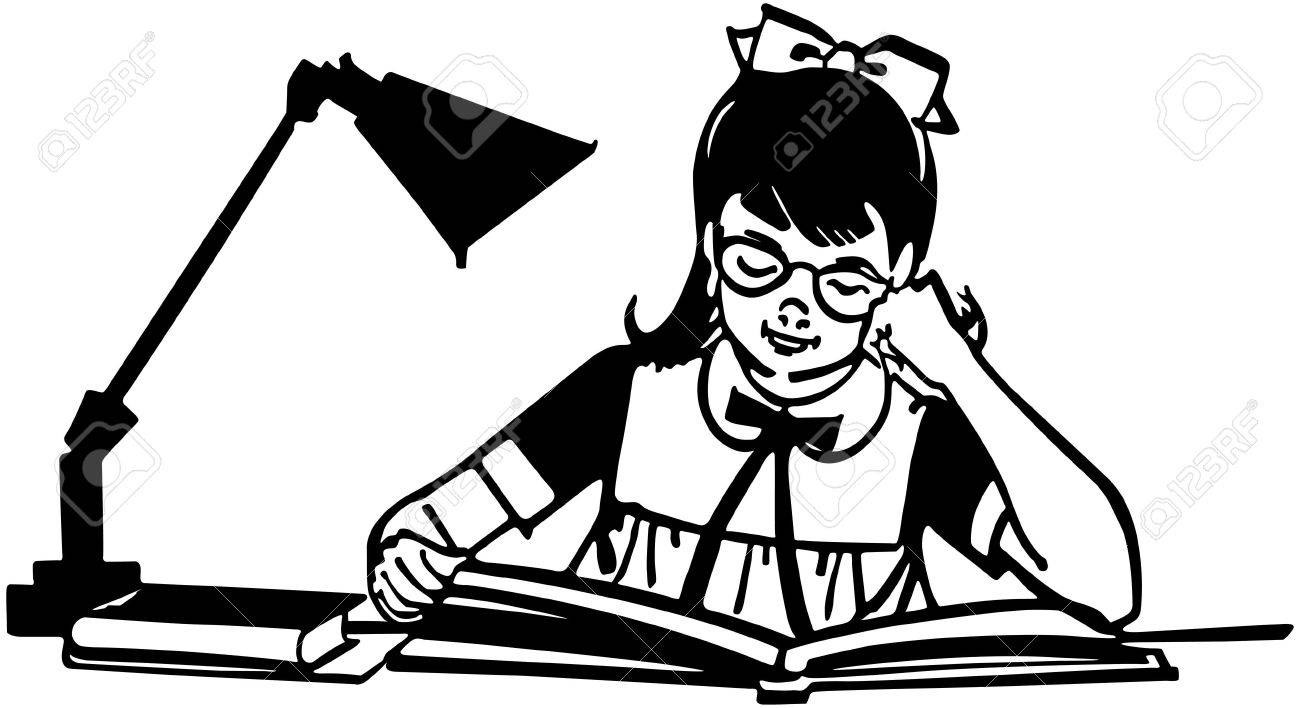 1300x708 Girl Studying At Desk Royalty Free Cliparts, Vectors, And Stock