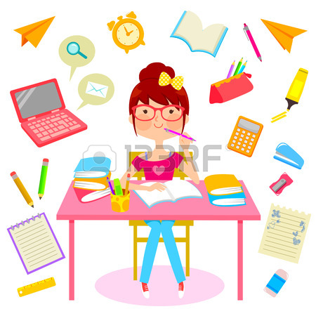 450x450 Teenage Girl Surrounded By Items Related To Studying Royalty Free