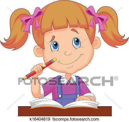 450x425 Clip Art Of Little Girl Cartoon Studying K16404819