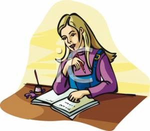 300x261 Clipart Picture Of A Blonde Girl Studying