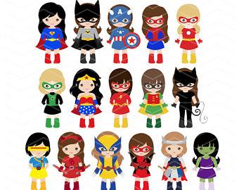 340x270 Girl Superhero Clip Art Super Hero Girls Digital Clipart