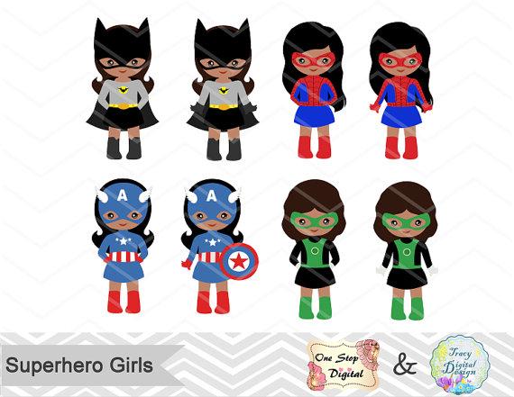 570x441 27 Little Girl Superheros Digital Clip Art, Girls Superhero