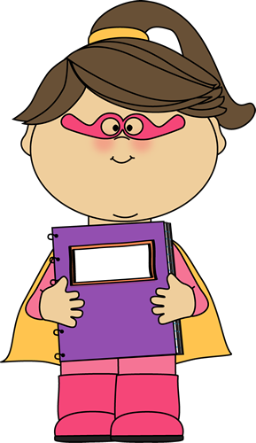 289x500 Girl Superhero With A Spiral Notebook Clip Art