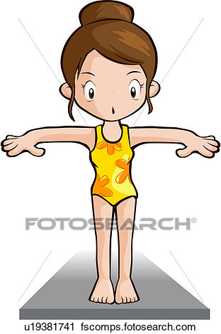 312x470 Clipart Of Person, Swim Wear, People, Diving Board, Swimming Pool