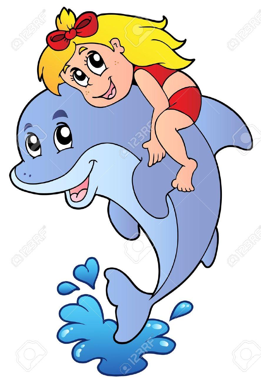 887x1300 Girl Clipart Dolphin