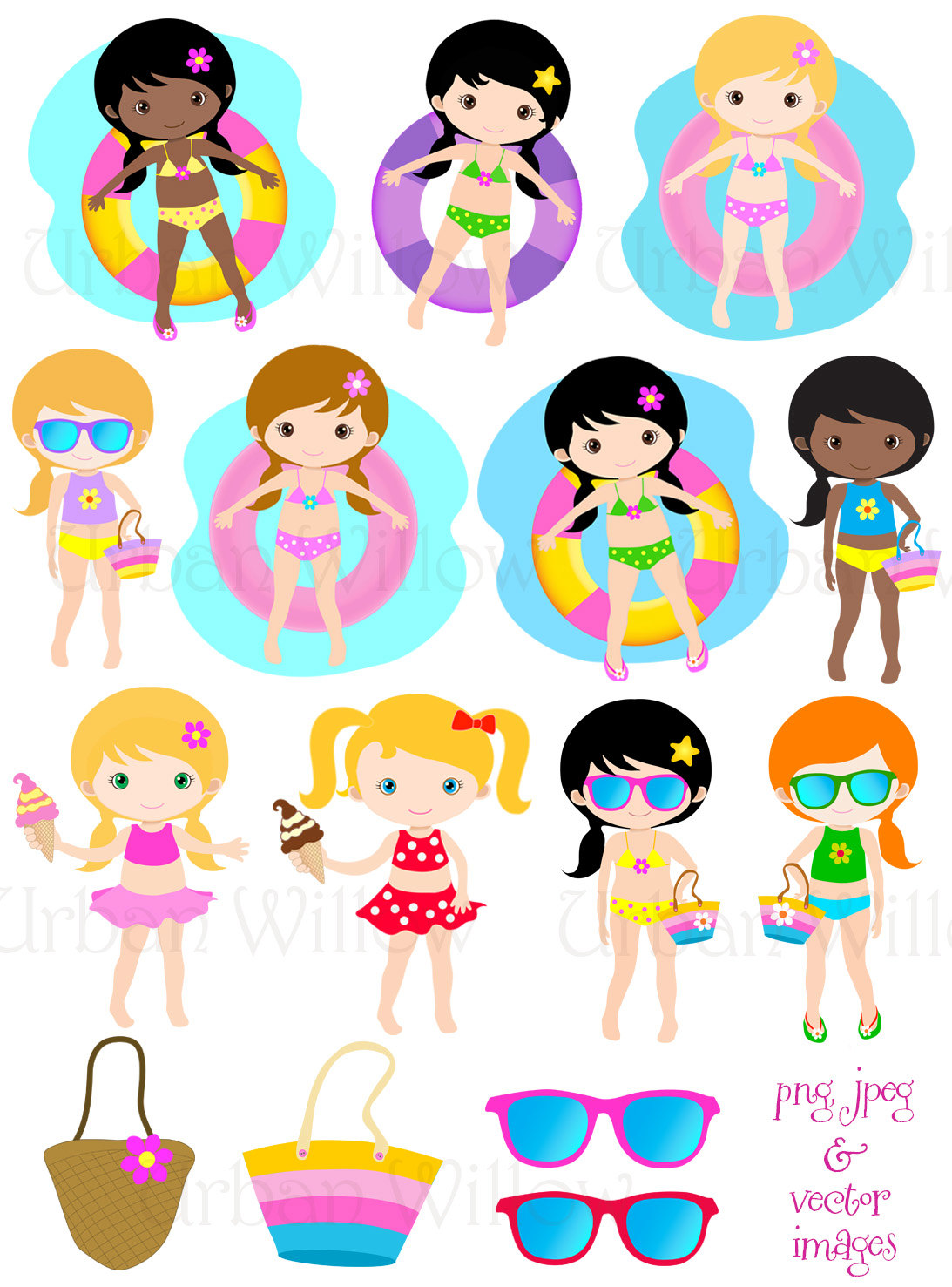 1093x1477 Pool Girl Clipart Clipart Cute Kids Swimming Digital Clipart