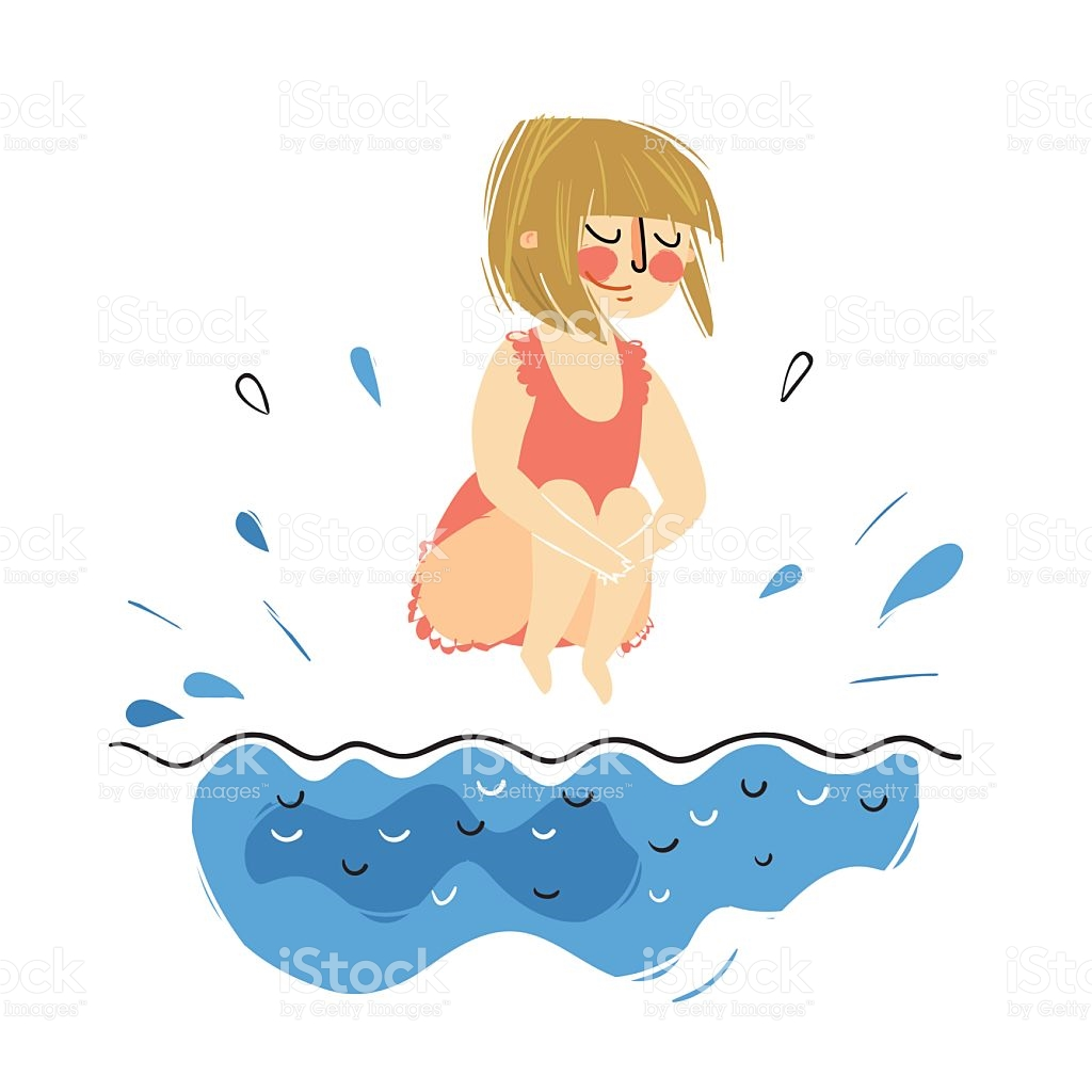 1024x1024 A Girl Jumping In A Pool Clipart