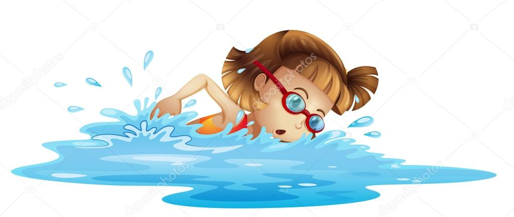 1022x431 A Small Girl Swimming Stock Vector Interactimages