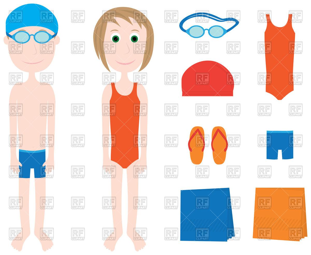 1200x985 Cartoon Boy, Girl And Swimming Equipment Royalty Free Vector Clip