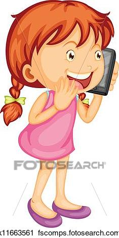 235x470 Clipart Of A Girl Talking On Mobile K11663561