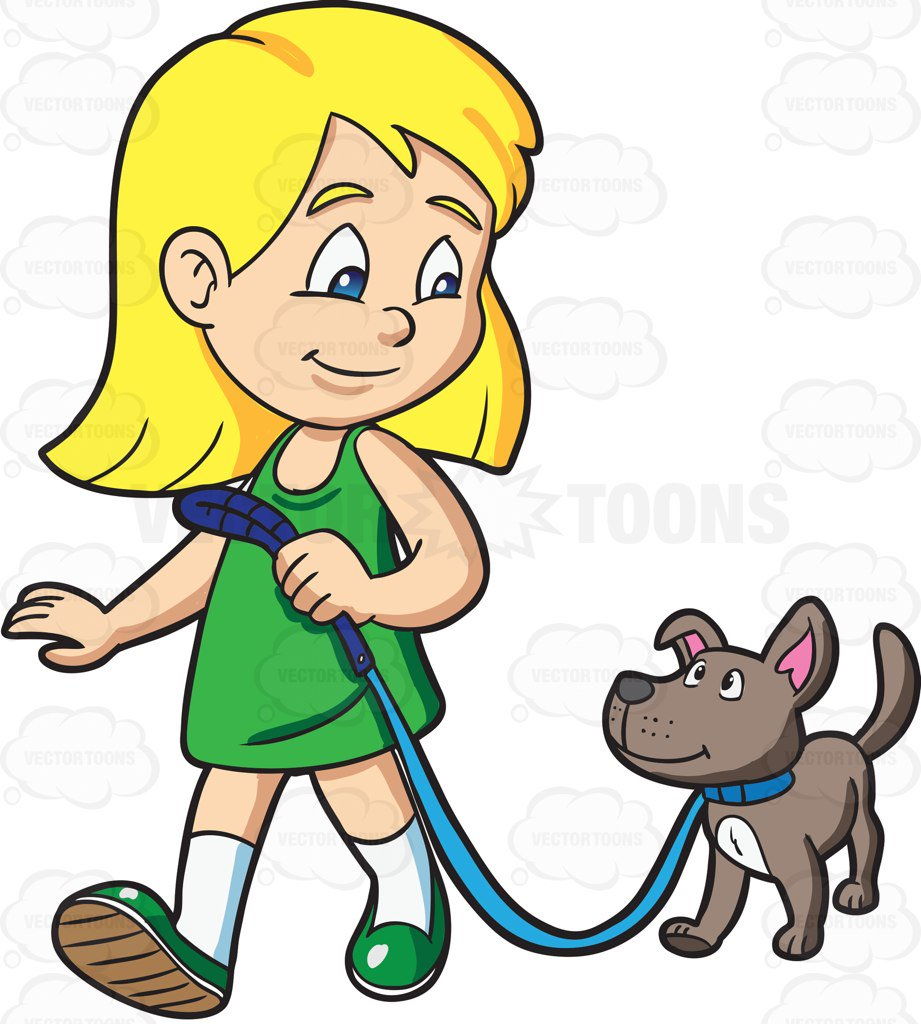 921x1024 A Girl Takes Her Dog For A Walk Cartoon Clipart