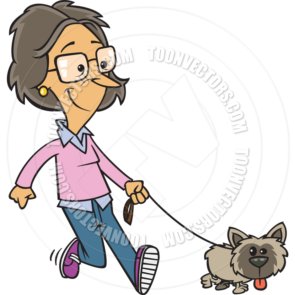 940x940 Cartoon Woman Walking Her Dog By Ron Leishman Toon Vectors Eps