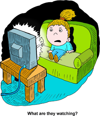 347x400 Image Scared Girl Watching Tv
