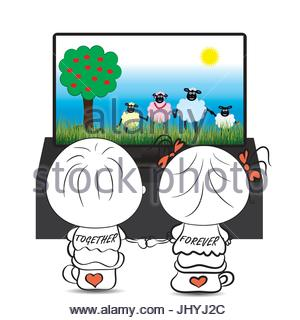 300x320 A Vector Illustration Of Couple Watching Tv