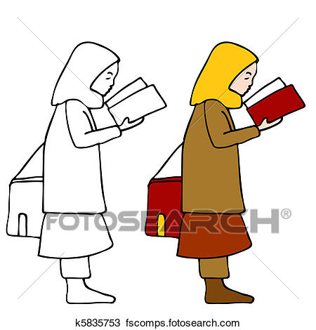 450x470 Clipart Of Muslim Girl Reading Book K5835753