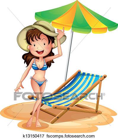 398x470 Clip Art Of A Girl Near A Foldable Beach Bed And Umbrella