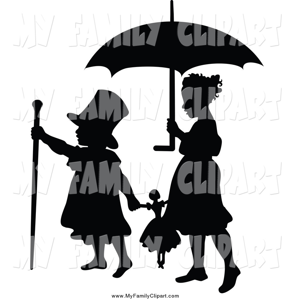 1024x1044 Clip Art Of A Silhouetted Boy And Girl Playing With A Doll Under