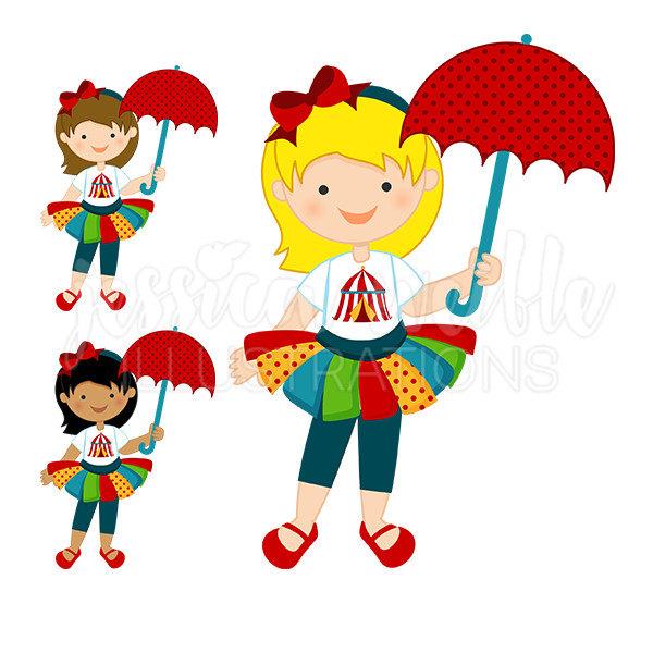 600x600 Fun Time Circus Girl Cute Digital Clipart Carnival Clip Art
