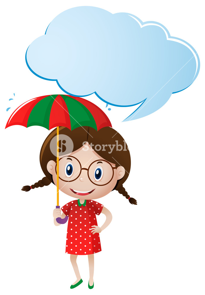 695x1000 Speech Bubble Template With Girl Holding Umbrella Illustration