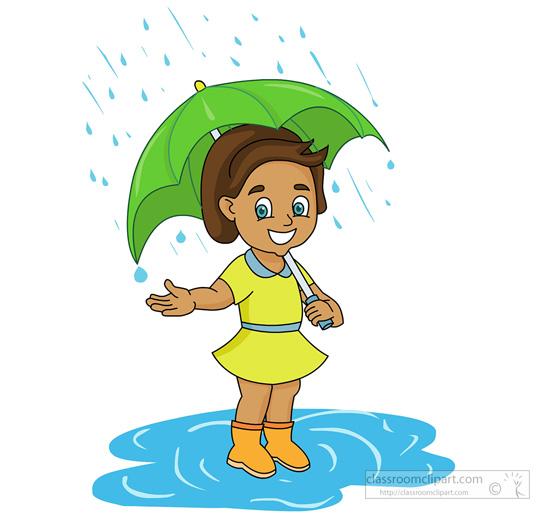 550x519 With Umbrella In Rain Clipart