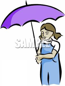 228x300 Art Image A Little Girl In Pigtails Under A Purple Umbrella